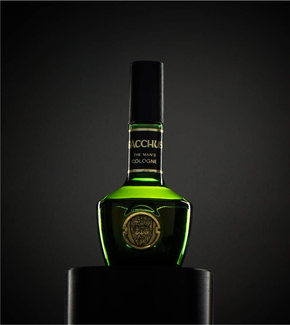 Bacchus The Man Cologne with dramatic lighting